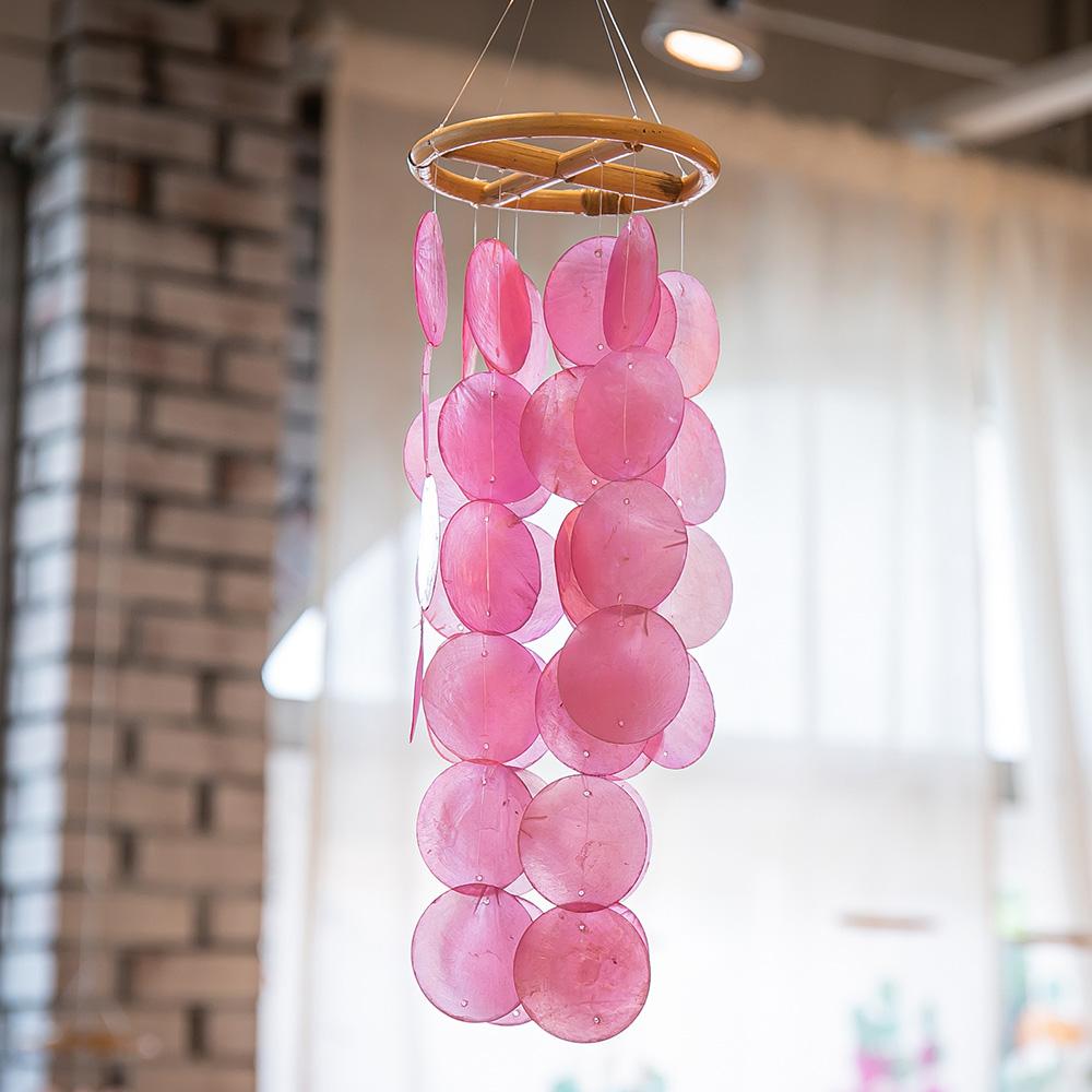 리빙랩스 라탄 천연 자개 모빌 핑크