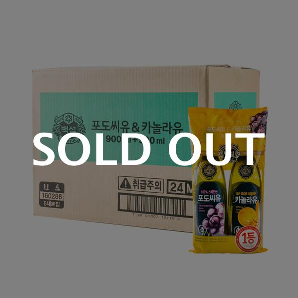 CJ 포도씨유+카놀라유 900ml+900ml 6입이식사
