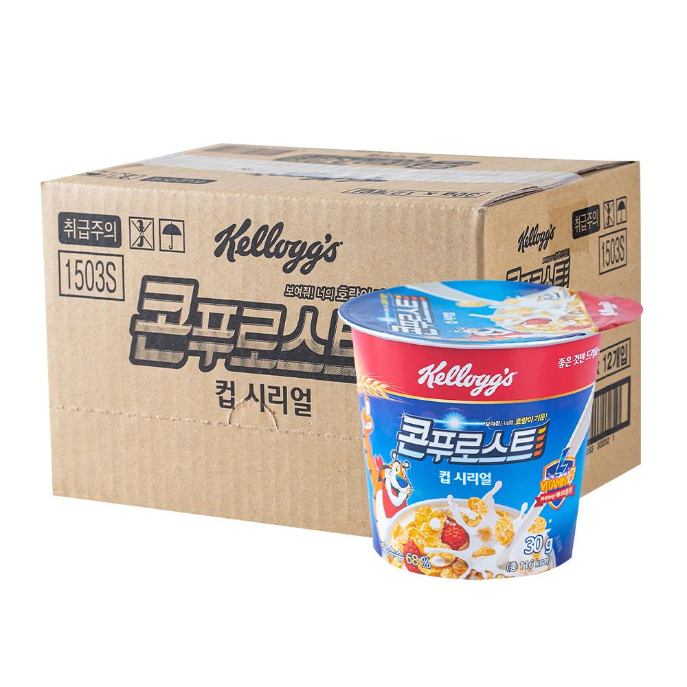 켈로그 콘푸로스트(컵) 씨리얼 30g 12입이식사