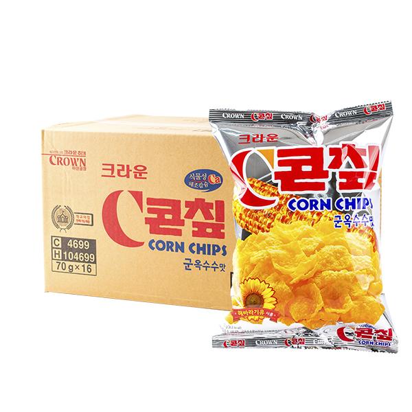 크라운 콘칩 옥수수맛 70g 16입이식사