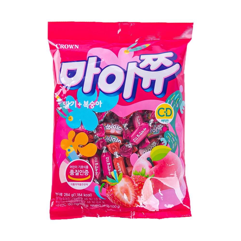 크라운 마이쮸딸기+복숭아328g이식사