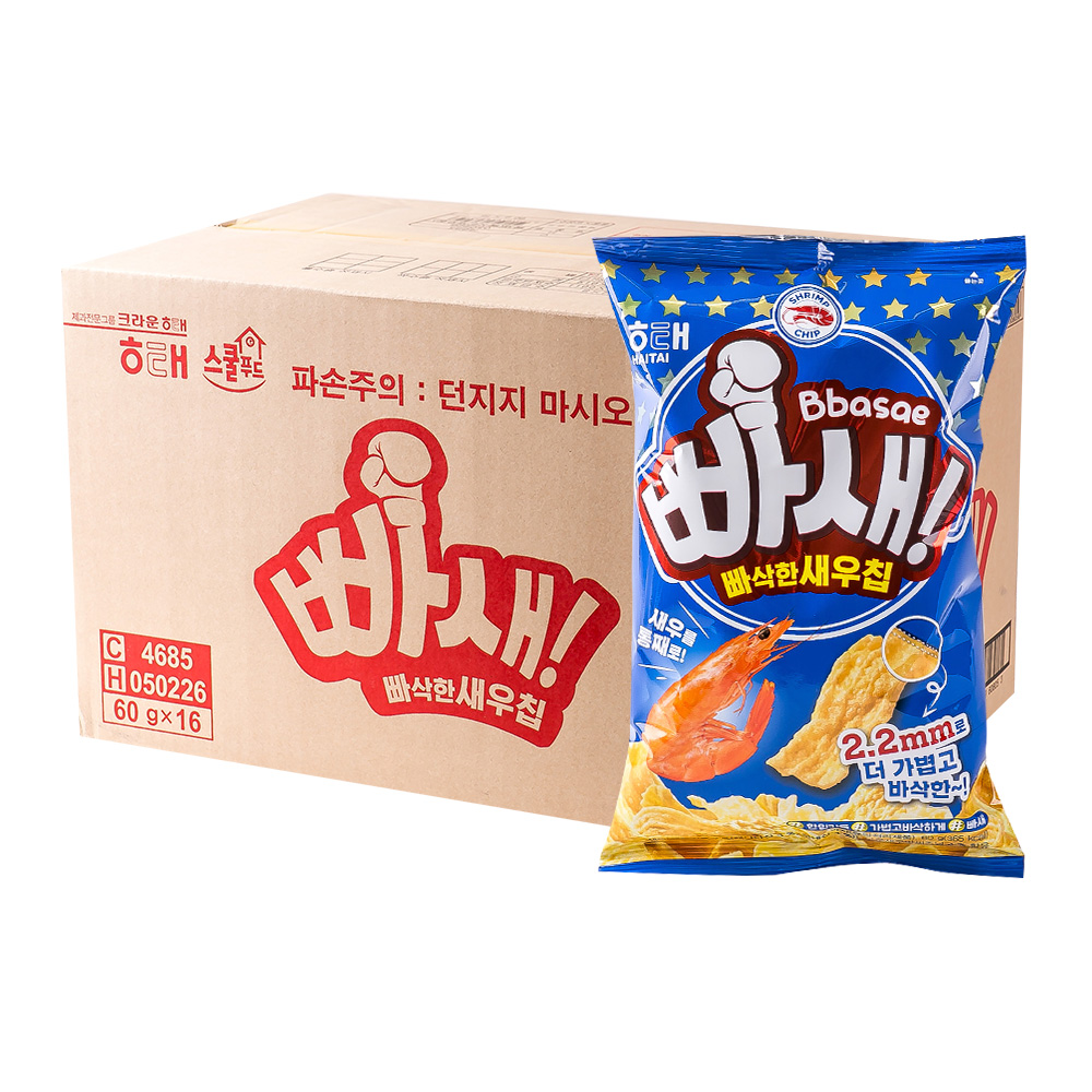 해태 빠새빠삭한새우칩 60g 16입이식사